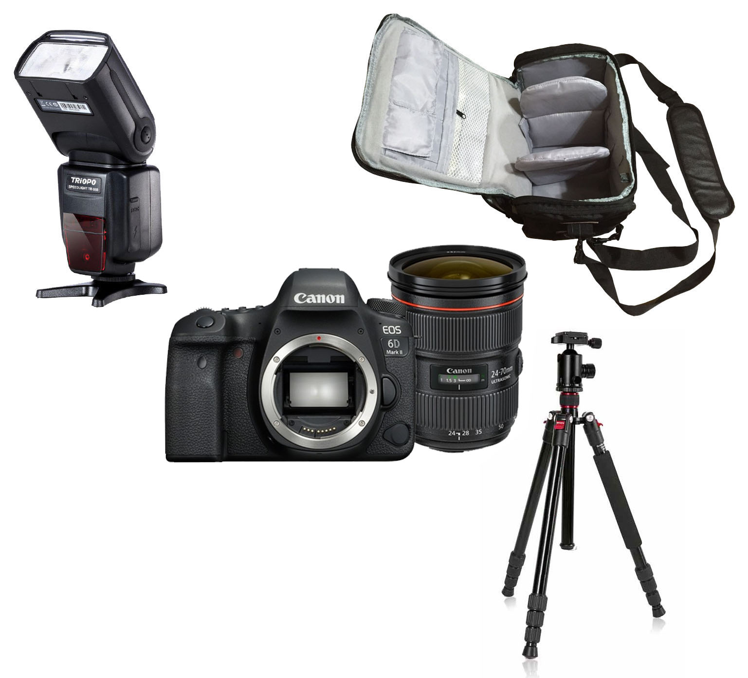 Canon Eos 6d Mark Ii 24 70 Camera Bag Flash Tripod Kit